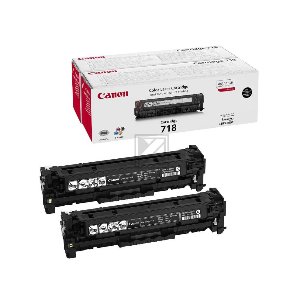 Canon Toner-Kartusche 2x schwarz 2-er Pack (2662B005, 2x CL-718BK)
