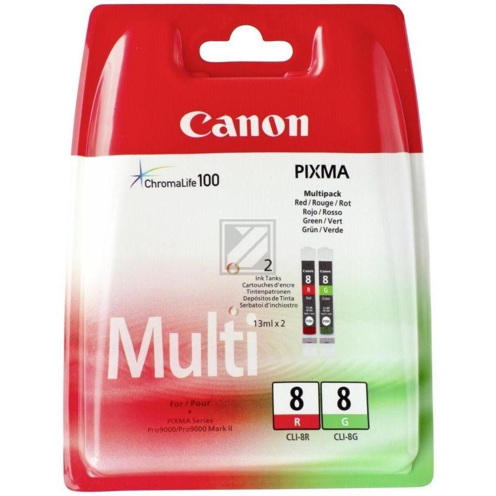 Canon Tintenpatrone rot grün (0626B027, CLI-8G CLI-8R)
