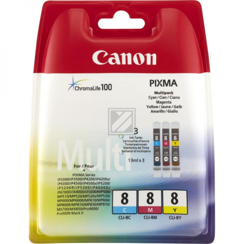 Canon Tintenpatrone gelb cyan magenta (0621B036, CLI-8C CLI-8M CLI-8Y)