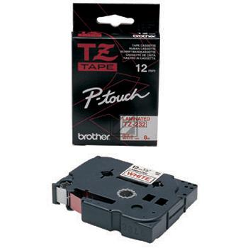 Farbband f. Brother P-touch 12mm [TZ-232] weiß/rot