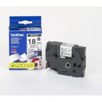Farbband f. Brother P-touch 18mm [TZE-SE4] schwarz/weiss Sicherheitsband