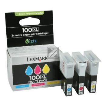 Lexmark Tintenpatrone Prebate gelb cyan magenta HC (14N0850, 100XL)