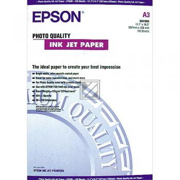 Epson Photo Quality Ink Jet Paper DIN A3 100 Seiten weiß (C13S041068)