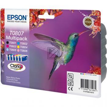 Epson Tintenpatrone gelb cyan cyan light magenta magenta light schwarz 6-er Pack (C13T08074011, T0807)