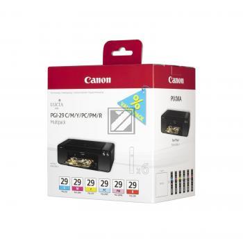 Canon Tintenpatrone gelb cyan magenta rot Photo cyan Photo magenta 6-er Pack (4873B005, PGI-29C PGI-29M PGI-29PM PGI-29R PGI-29Y)