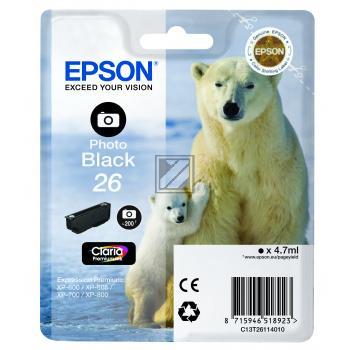 Epson Tintenpatrone Photo-Tinte photo schwarz (C13T26114012, T2611)