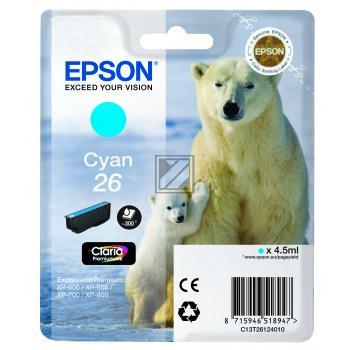 Epson Tintenpatrone cyan (C13T26124012, T2612)