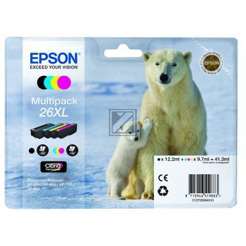 Epson Tintenpatrone gelb cyan magenta schwarz HC (C13T26364010, T2636)