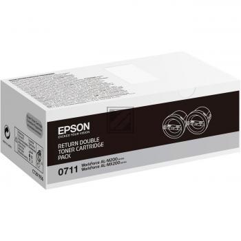 Epson Toner-Kartusche Return 2x schwarz 2-er Pack (C13S050711, 0711)