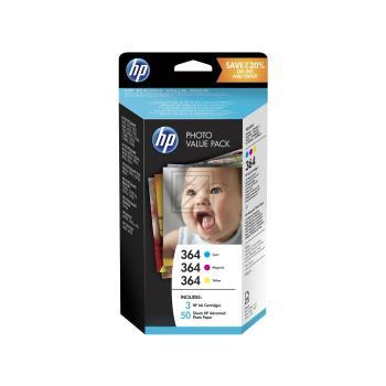 HP Tintenpatrone Fotopapier 100x150mm gelb cyan magenta (T9D88EE, 3 x 364)