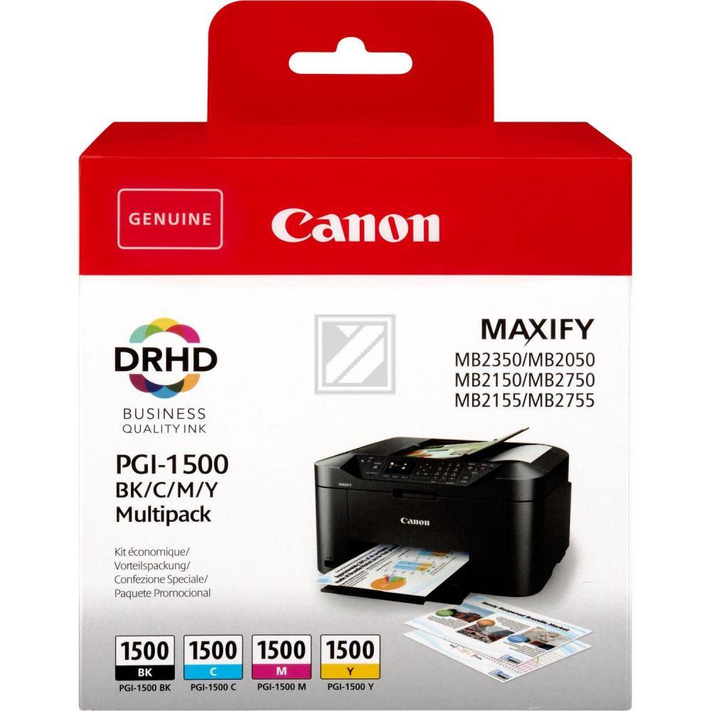 Original Canon 9218B005 / PGI-1500BKCMY Tinte schwarz, cyan, magenta, gelb - 4 Stück