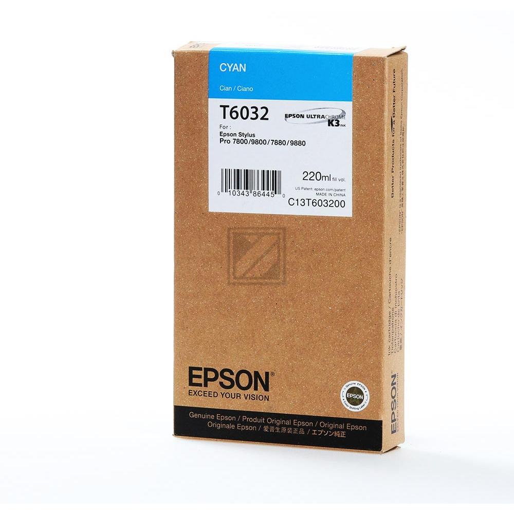 Original Epson C 13 T 603200 / T6032 Tinte Cyan (Original)