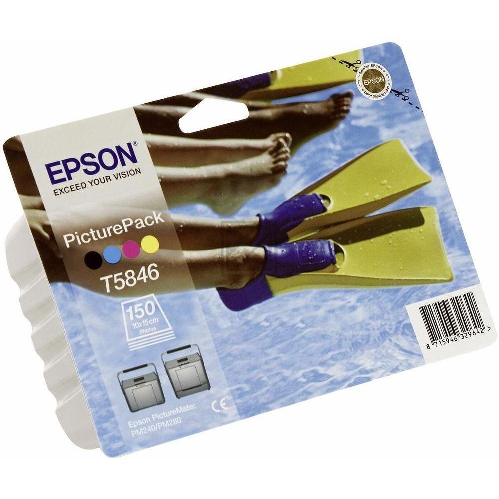 Original Epson C13T58464010 / T5846 Tinte Color (BK,C,M,Y) & Fotopapier