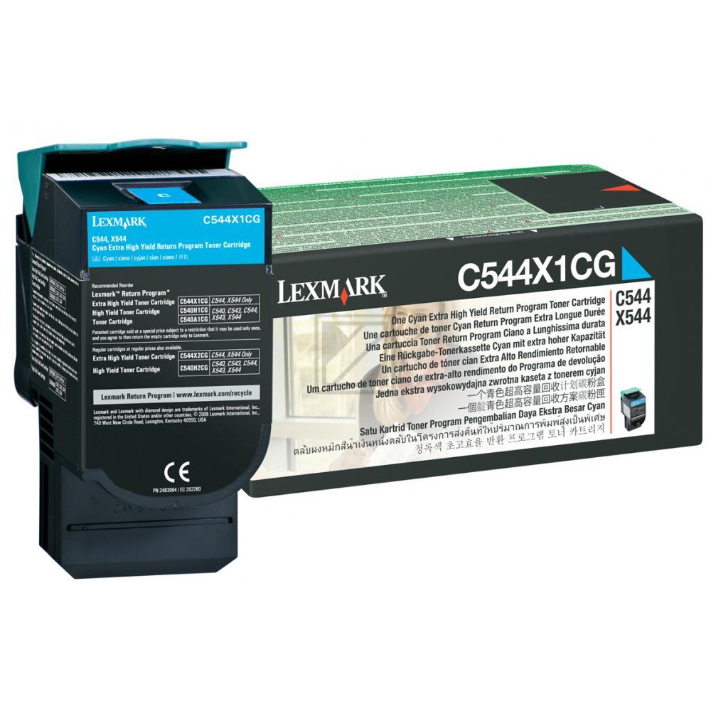 Lexmark Toner-Kartusche Prebate cyan HC plus (C544X1CG)