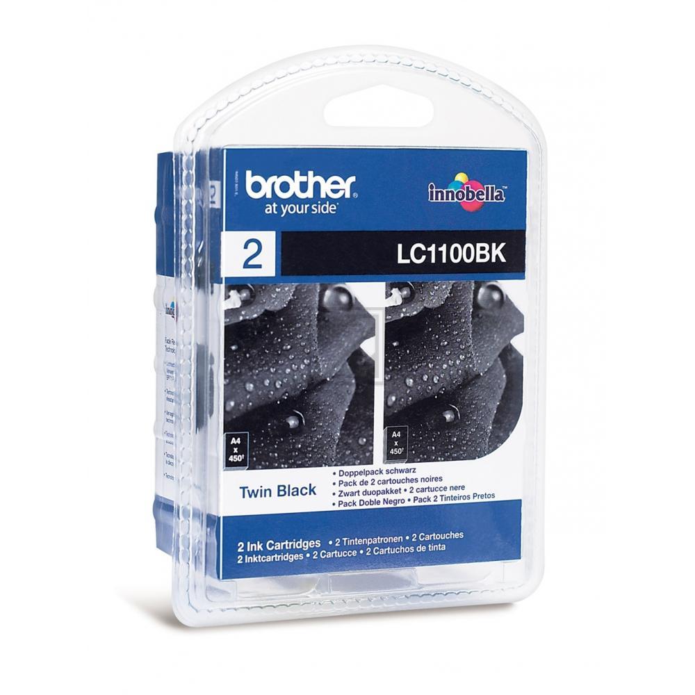 Brother Tintenpatrone 2 x schwarz 2-Pack (LC-1100BKBP2DR)