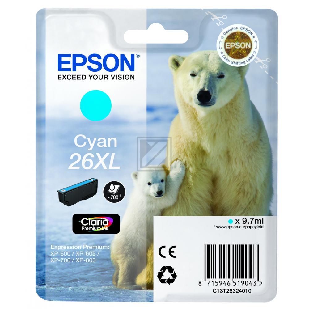 Original Epson C13T26324010 / 26 XL Tinte Cyan