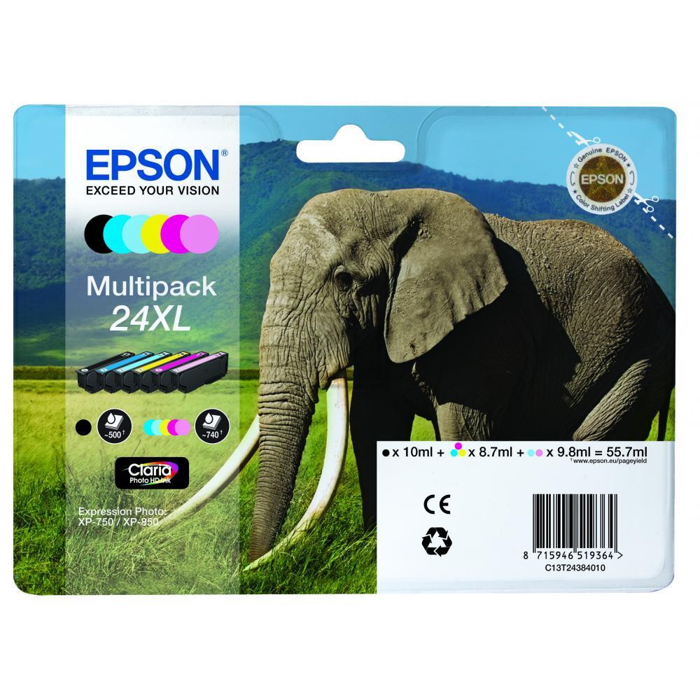 Original Epson C13T24384010 / 24XL Tinte XL Spar-Set (Schwarz, Cyan, Magenta, Gelb, Cyan hell, Magenta hell)
