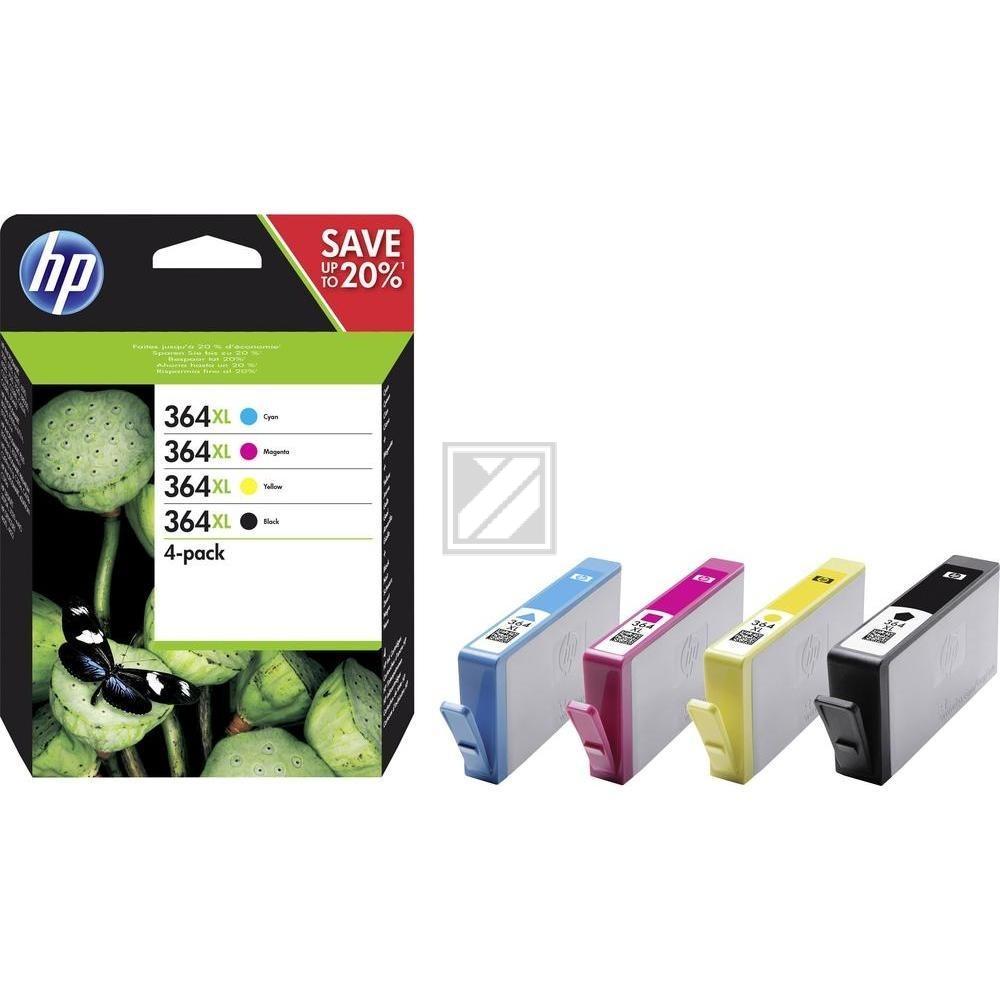 HP Tintenpatrone gelb cyan magenta schwarz HC (N9J74AE, 364XL)