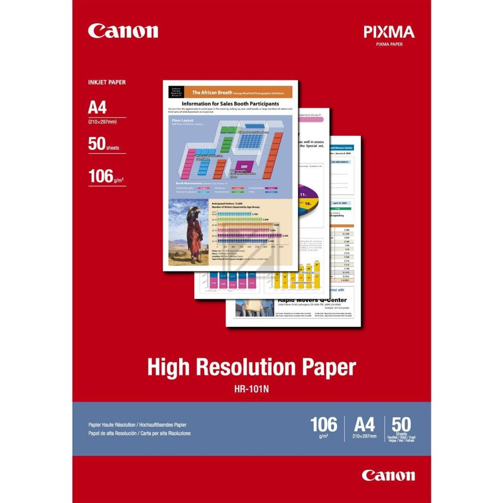 CANON     Papier High Resolution      A4 HR101NA4  Bubble-Jet, 106g      50 Blatt