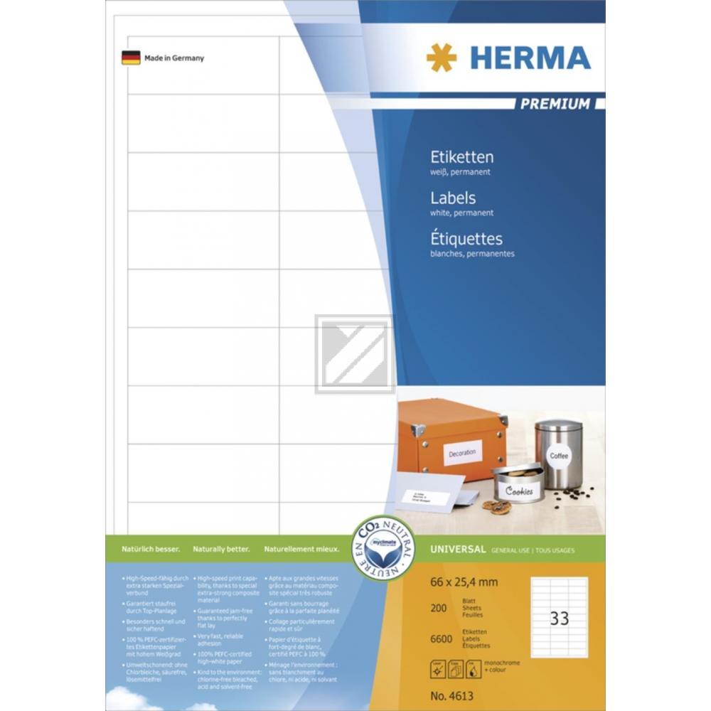 Herma Etiketten A4 weiß 66 x 25,4 mm Papier matt Inh.6600 Premium
