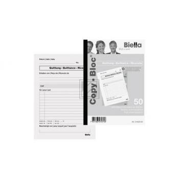 BIELLA Quittung COPY-BLOC D/F/I/E A5 514525.00 selbstdurchschreib. 50x2 Blatt