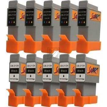 10 Ersatz Patronen kompatibel zu BCI-21 / BCI-24, Schwarz, Farbe