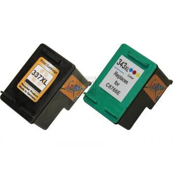 2 Ersatz Patronen kompatibel zu HP 337 Schwarz / HP 343 Farbe