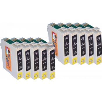 Nur Schwarz! 10 Ersatz Chip Druckerpatronen kompatibel zu T0711 Schwarz für Epson