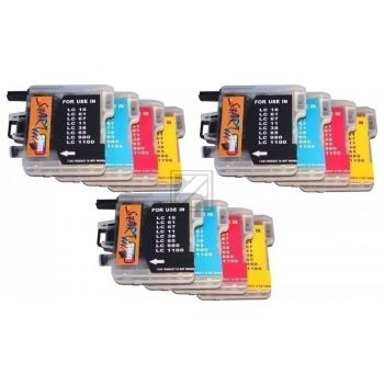 12 Compatible Ink Cartridges to Brother LC980 / LC1100  (BK, C, M, Y)