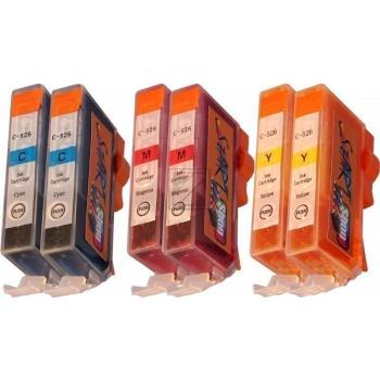 Nur Farben! 6 Ersatz Chip Patronen kompatibel zu CLI-526, Cyan, Magenta, Gelb