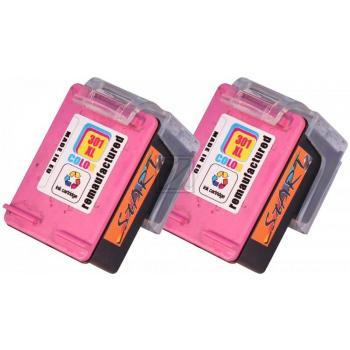 2 Ersatz Tintenpatronen kompatibel zu HP 301XL Farbe, dreifarbig