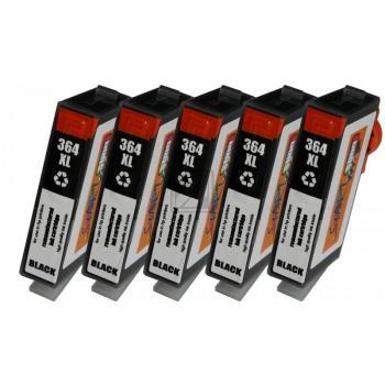 Nur BK! 5 Ersatz Chip Tintenpatronen kompatibel zu HP 364XL Schwarz mit Füllstandsanzeige