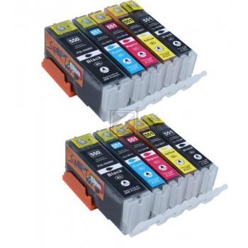 10 XL Ersatz Chip Patronen kompatibel zu Canon PGI-550BK XL Schwarz, CLI-551BK XL Foto-Schwarz, CLI-551C XL Cyan, CLI-551M XL Magenta, CLI-551Y XL Gelb