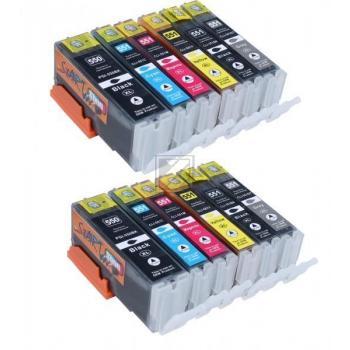 12 XL Ersatz Chip Patronen kompatibel zu Canon PGI-550BK XL Schwarz, CLI-551BK XL Foto-Schwarz, CLI-551C XL Cyan, CLI-551M XL Magenta, CLI-551Y XL Gelb, CLI-551GY XL Grau
