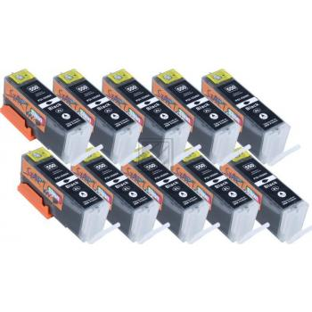 Nur BK, 10 XL Ersatz Chip Patronen kompatibel zu Canon PGI-550BK PGI-550PGBK XL Schwarz, PGI 550 PG BK
