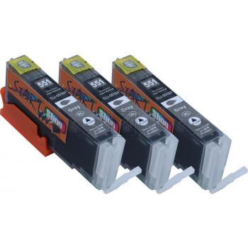 3 XL Ersatz Chip Patronen kompatibel zu Canon CLI-551GY XL Grau