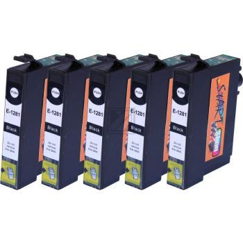 5 Compatible Ink Cartridges to Epson T1281 (BK, C, M, Y)