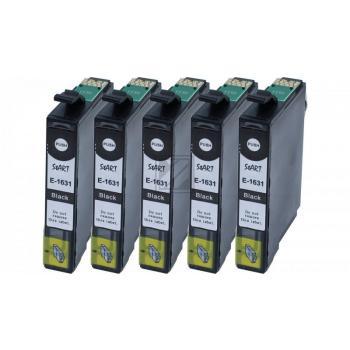 Nur BK! 5 Ersatz Chip Patronen kompatibel zu Epson 16XL, T1631 Schwarz