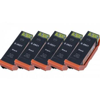 Nur BK! 5 Ersatz Chip Patronen kompatibel zu Epson 26XL, T2621, Schwarz