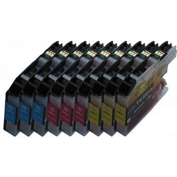 9 XL Ersatz Chip Patronen kompatibel zu Brother LC-123C XL Cyan, LC-123M XL Magenta, LC-123Y XL Gelb