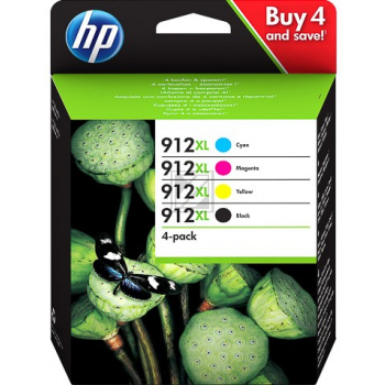 HP Tintenpatrone gelb cyan magenta schwarz HC (3YP34AE, 912)
