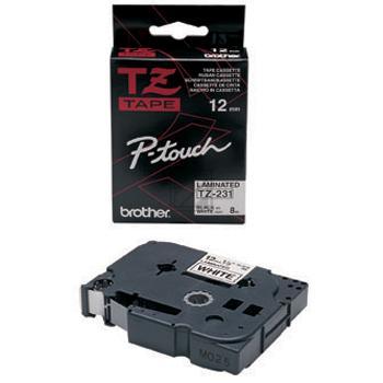 BROTHER PTOUCH TZE231 | 12mm/8m, BROTHER Schriftbandkassette, schwarz auf weiss