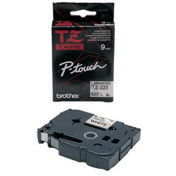BROTHER PTOUCH TZE221 | 9mm/8m , BROTHER PTOUCH Band laminiert, schwarz auf weiss