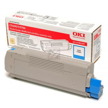 Original OKI 43381907 / C5600 Toner Cyan