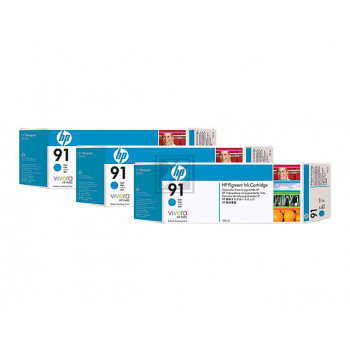 Original HP C9483A / 91 Tinte Cyan 3er Set