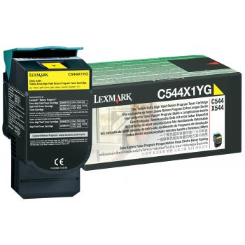 Lexmark Toner-Kartusche Prebate gelb HC plus (C544X1YG)