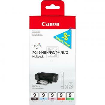 Canon Tintenpatrone rot, schwarz matt, photo magenta, photo cyan, grün (1033B013, PGI-9G, PGI-9MBK, PGI-9PC, PGI-9PM, PGI-9R)