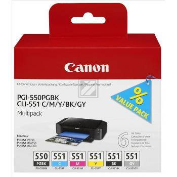 Original Canon 6496B005 / PGI-550 / CLI 551 Tinte Multipack Black & Color