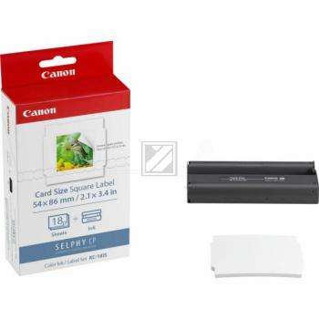 Canon Thermo-Transfer-Rolle Papier (54mm x 86mm) weiß farbig 18 Blatt (7429B001, KC-18IS)