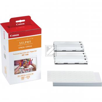 Canon Fotopapier 100x150mm Thermo-Transfer-Rolle + Papier weiß farbig (8568B001, RP-108)